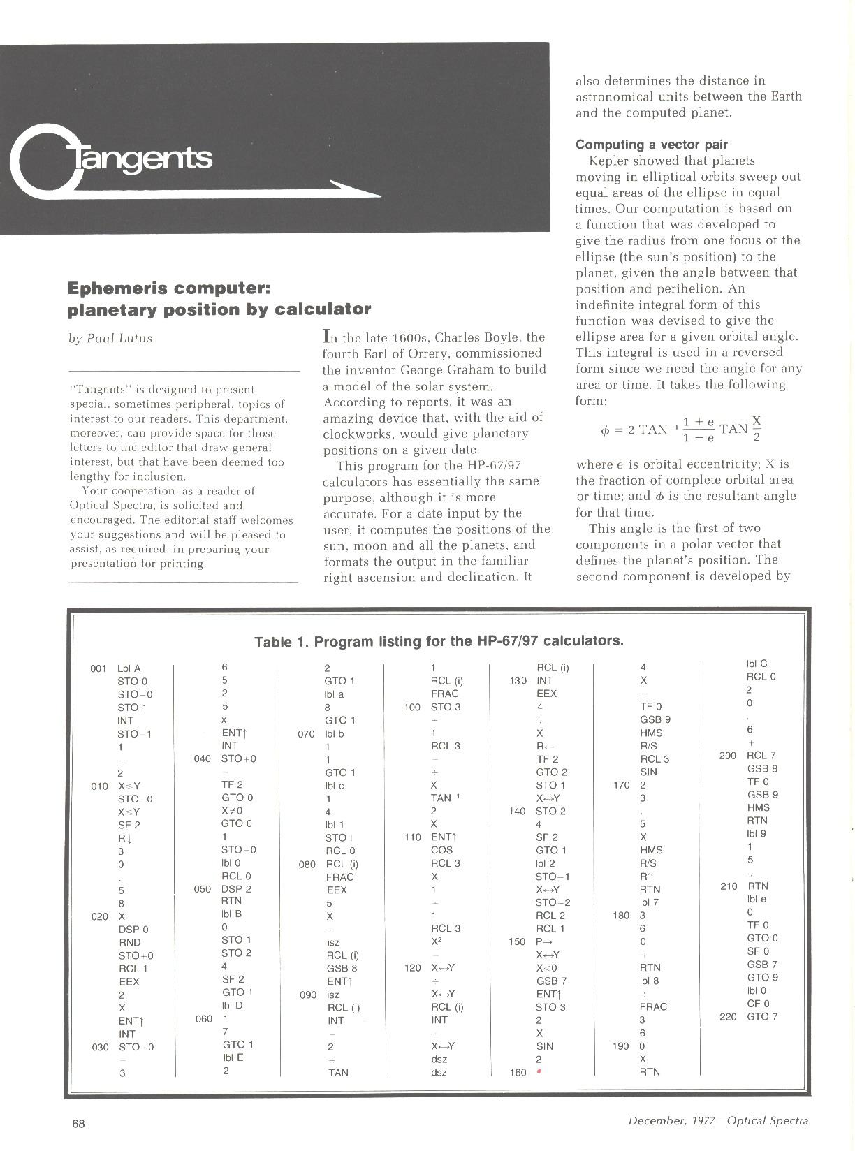 HP-67/97) Planetary Ephemeris