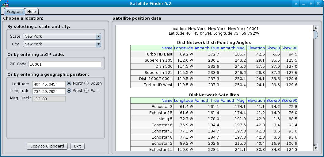 Satellite Finder Home Page